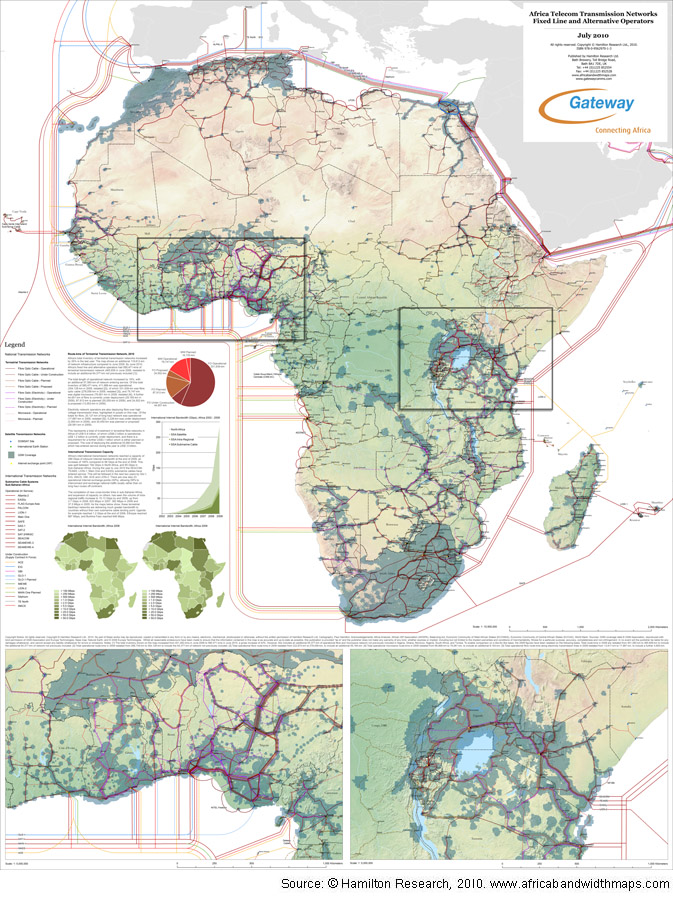 Map Of Africa 2010.Africa Telecom Transmission Map 2010 Africa Bandwidth Maps